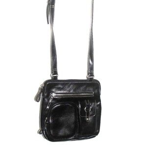 Handbags - Women's Black Vinyl Handbag Shoulder bag Crossbody